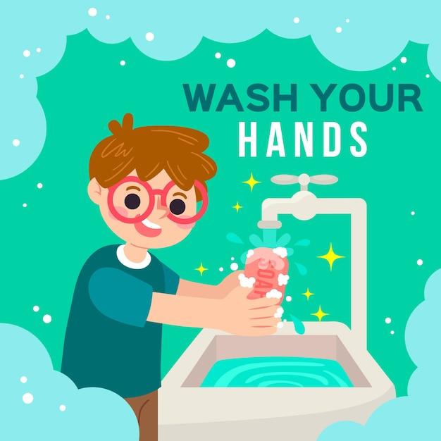 Umyj Ręce Na Ilustracji Darmowych Wektorów