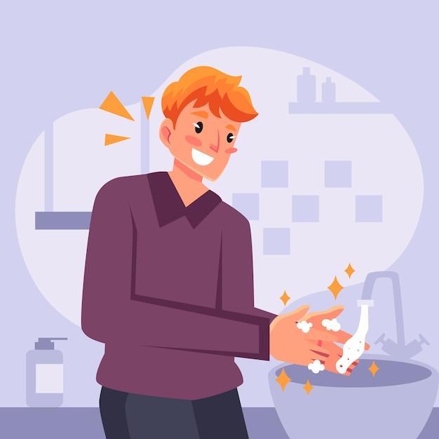 Umyj Ręce Ręcznie Rysowane W Stylu Darmowych Wektorów