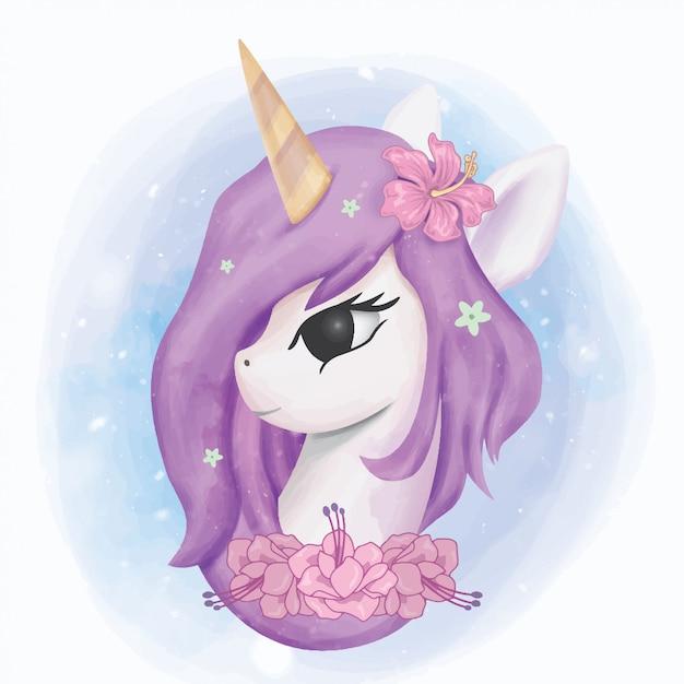 Unicorn head illustration portrait watercolor Premium Wektorów