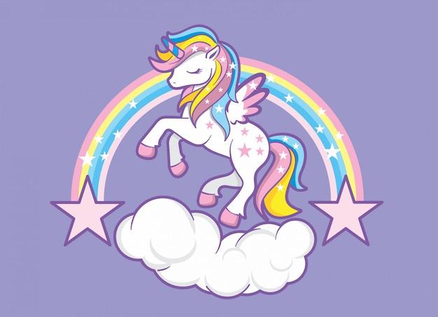 Unicorn Rainbow Premium Wektorów