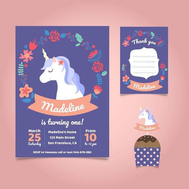 Unicorn urodzinowe zaproszenie Darmowych Wektorów