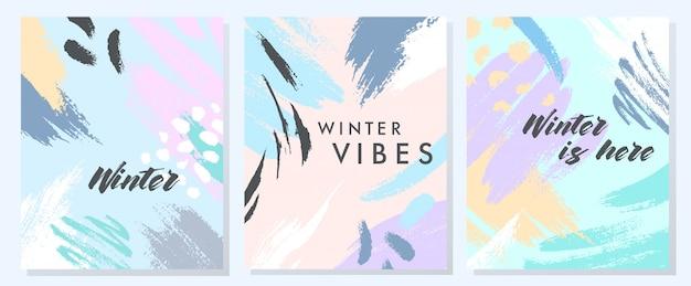 Unikalne Artystyczne Karty Zimowe Premium Wektorów