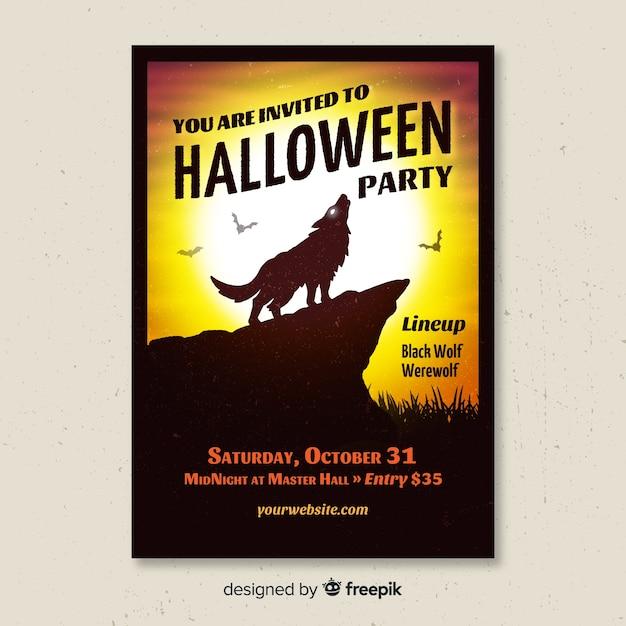 Upiorny Halloween Party Plakat Z Płaska Konstrukcja Darmowych Wektorów