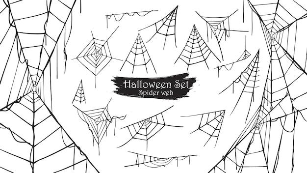 Upiorny pajęczyna sylwetki kolekcja halloween Premium Wektorów