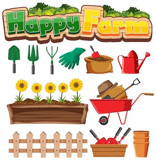 Uprawiać Ogródek Ustawiającego Z Rośliny I Ogrodnictwa Narzędziami Na Białym Tle Premium Wektorów