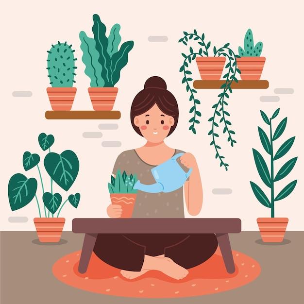 Uprawiać Ogródek W Domu Pojęcie Z Kobiety Podlewania Roślinami Darmowych Wektorów