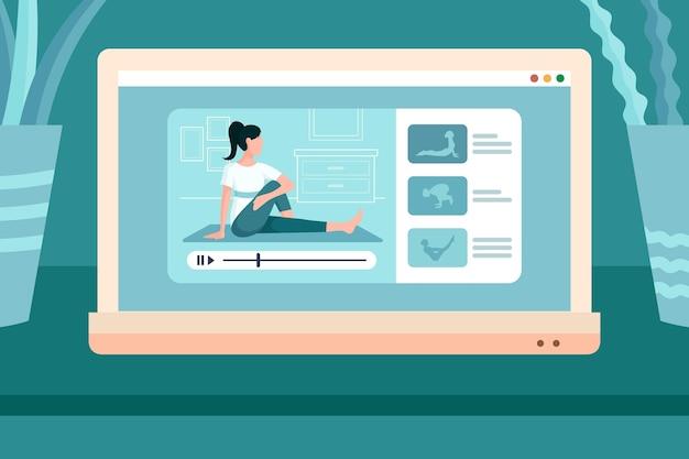 Uprawianie Jogi Online Z Domu Darmowych Wektorów
