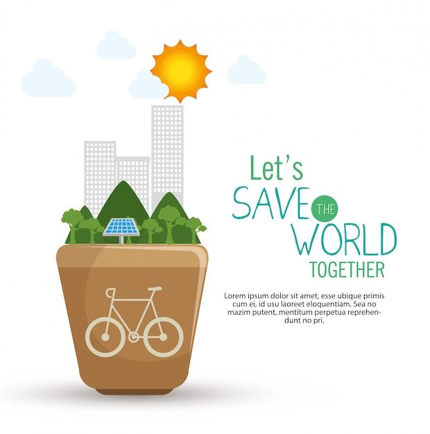 Uratować światowy Projekt W Płaskiej Stylistyce Darmowych Wektorów