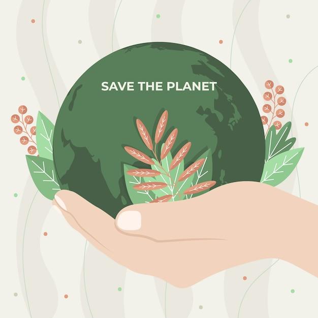 Uratuj Koncepcję Planety Ręką Darmowych Wektorów