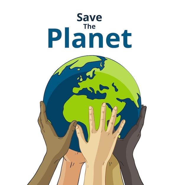 Uratuj Koncepcję Planety Rękami Podnosząc Ziemię Premium Wektorów