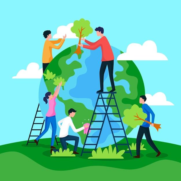 Uratuj Ludzi Planety Przywracających Ziemię Darmowych Wektorów