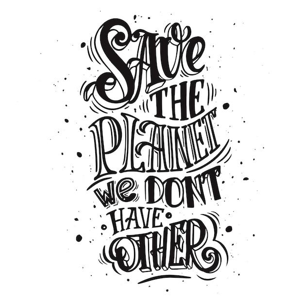Uratuj naszą planetę. plakat, koncepcja nieodpowiedzialnej konsumpcji i zanieczyszczenia planety Premium Wektorów