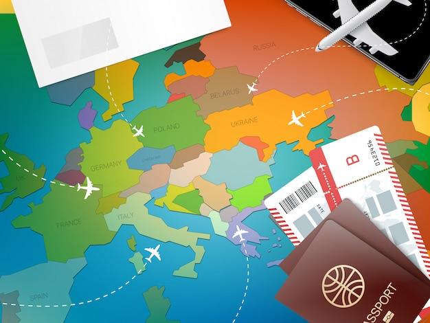Urlopowy pojęcie z czerwoną szpilką i mapą Premium Wektorów