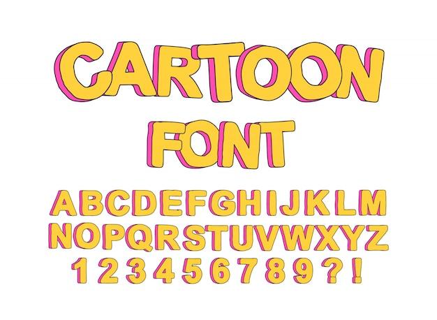 Urocza, Angielska Czcionka Z Kreskówek Na Imprezy Dla Dzieci, Do Tworzenia Wydruków I Typografii. Premium Wektorów