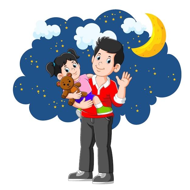 Urocza Dziewczyna Idzie Spać Z Ojcem W Piękną Noc Premium Wektorów