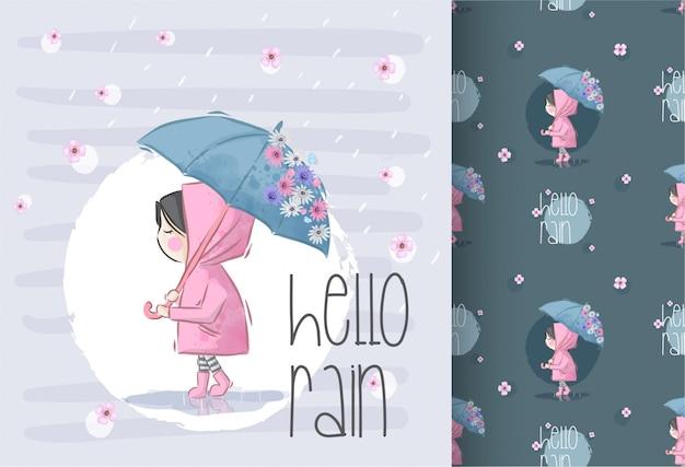 Urocza dziewczyna na deszczu z kwiatem bez szwu Premium Wektorów