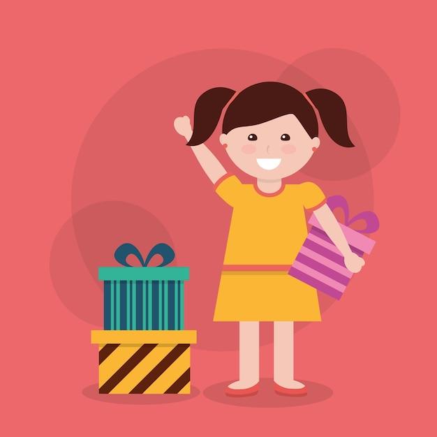 Urocza dziewczyna wstążka łuk owinięte pudełko Premium Wektorów