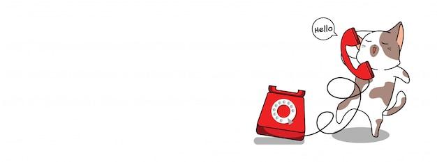 Urocza Ilustracja Kot I Telefon Premium Wektorów