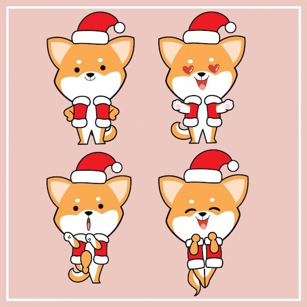 Urocza kawaii ręcznie rysowana postać psa shiba inu z bożonarodzeniową czapką Premium Wektorów