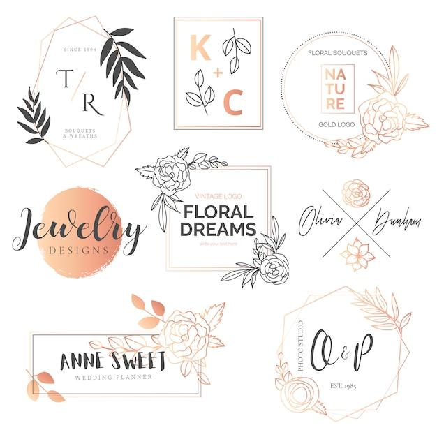 Urocza kolekcja kwiatów i złotych logotypów Darmowych Wektorów