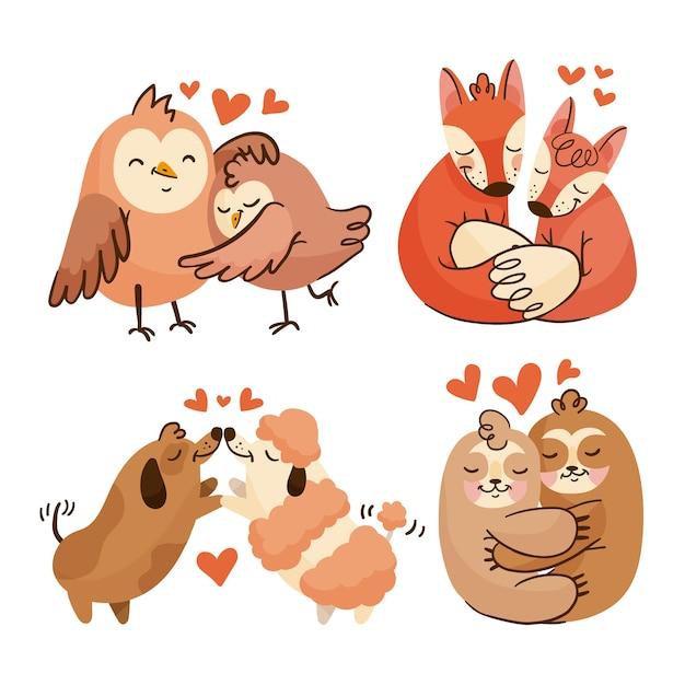 Urocza Kolekcja Ze Zwierzętami W Miłości Darmowych Wektorów