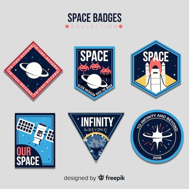 Urocza Kolekcja Znaczków Kosmicznych O Płaskiej Konstrukcji Premium Wektorów