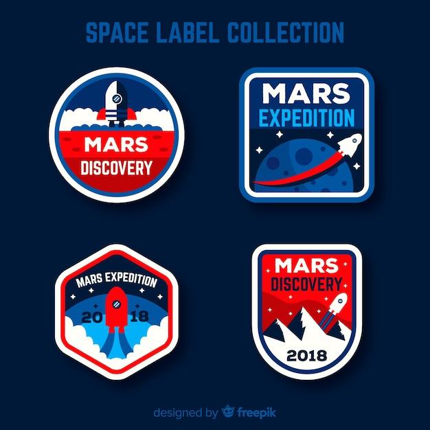 Urocza Kolekcja Znaczków Kosmicznych O Płaskiej Konstrukcji Darmowych Wektorów