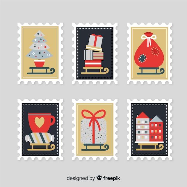 Urocza kolekcja znaczków świątecznych Darmowych Wektorów