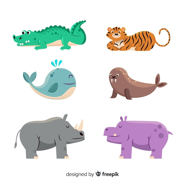Urocza kolekcja zwierząt z nosorożcem Darmowych Wektorów