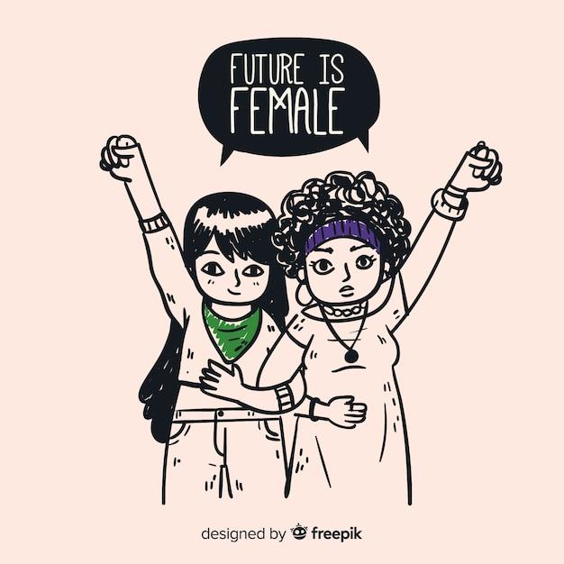 Urocza Kompozycja Feminizmu Premium Wektorów
