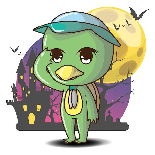 Urocza kreskówka kappa ghost, domowa boskość japońskiej religii ludowej kappa. koncepcja halloween. Premium Wektorów