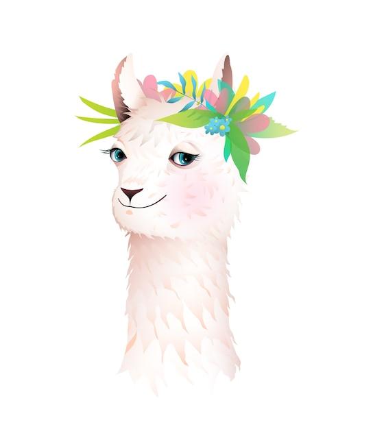 Urocza Lama Lub Alpaka Z Kwiatami W Koronie Na Głowie. Ilustracja Postaci Zwierząt Dla Dzieci, Kreskówka W Stylu Przypominającym Akwarele. Premium Wektorów