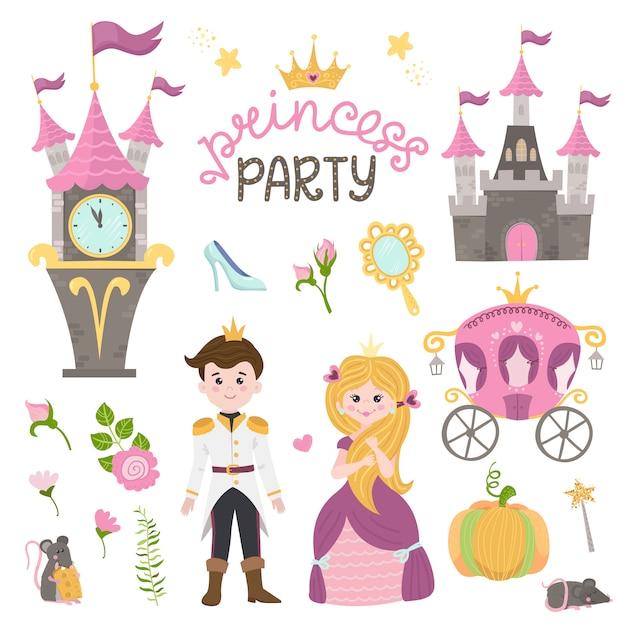 Urocza mała księżniczka kopciuszek ustawia przedmioty. kolekcja z ładną dziewczyną, księciem, powozem, zegarkiem, lustrem, akcesoriami. Premium Wektorów