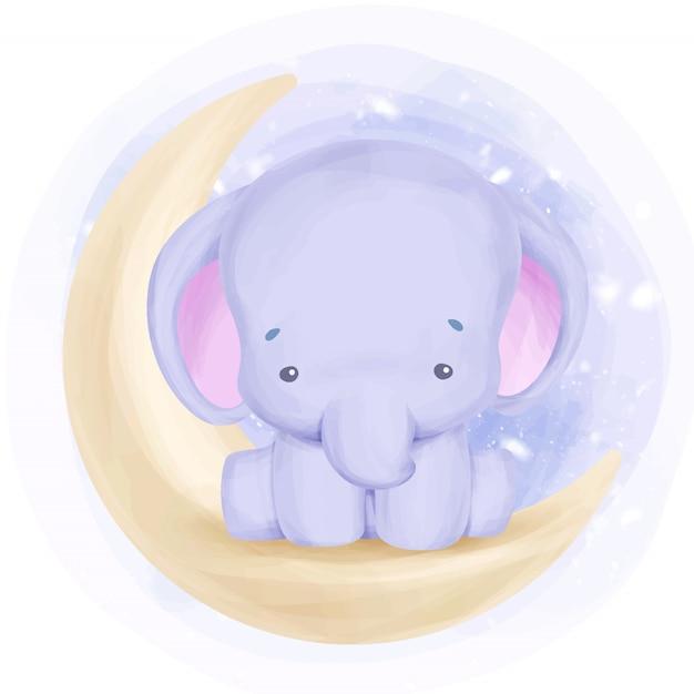 Urocza Mała Słonia Siedzieć Na Księżycu Premium Wektorów