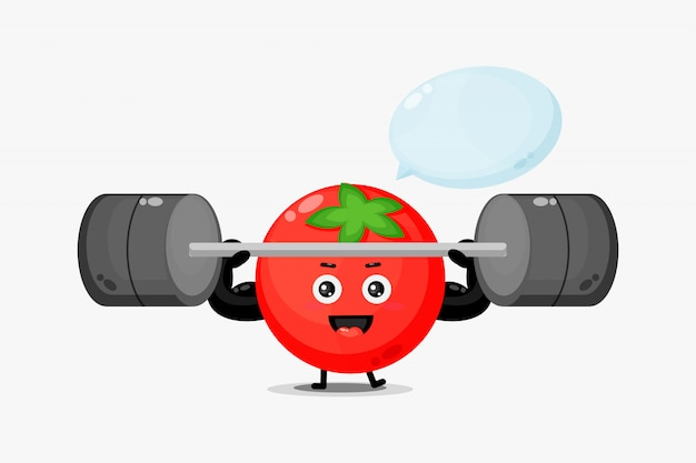 Urocza Maskotka Pomidorowa Unosi Sztangę Premium Wektorów