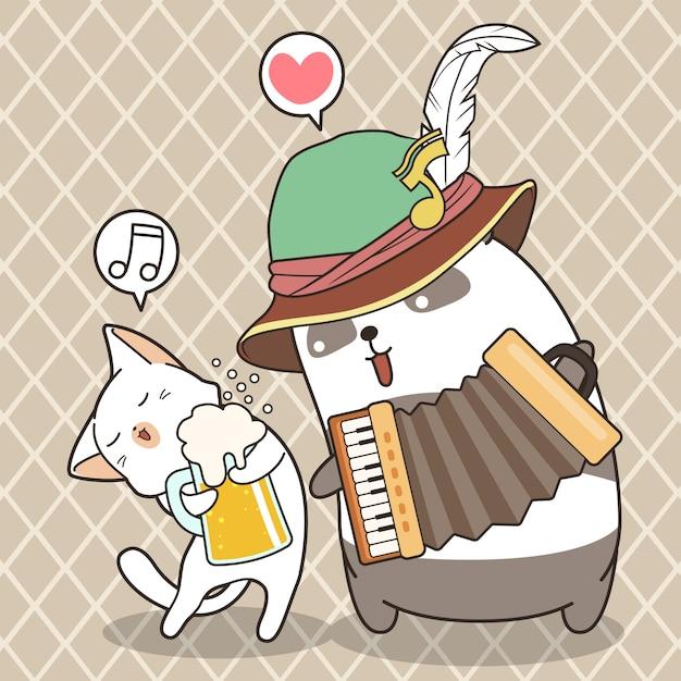 Urocza panda gra na akordeonie, a słodki kot trzyma kubek piwa Premium Wektorów