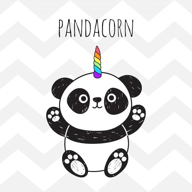 Urocza panda z rogiem jednorożca Premium Wektorów