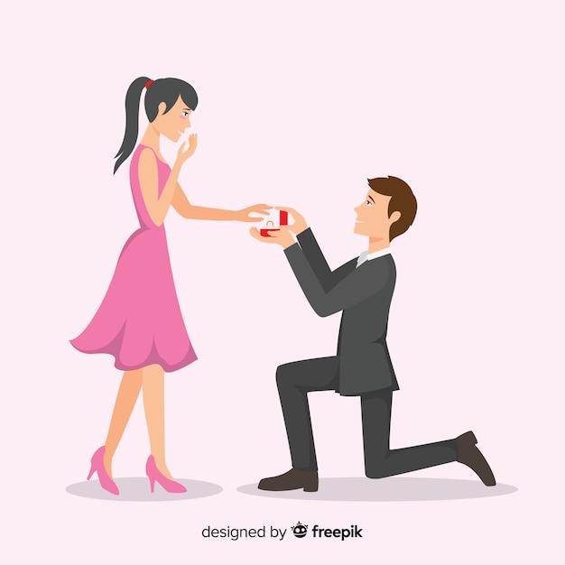 Urocza Propozycja Małżeństwa Z Płaską Stylistyką Darmowych Wektorów