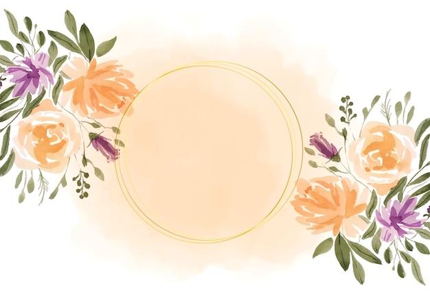 Urocza Rama Akwarela Kwiaty Darmowych Wektorów