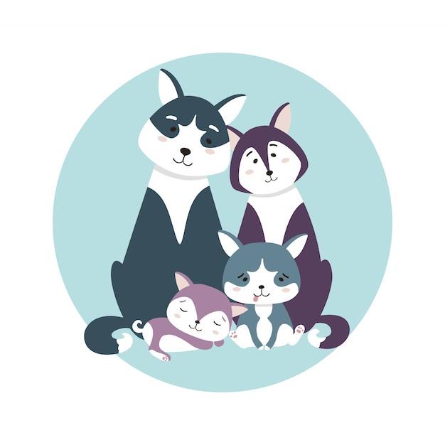 Urocza Rodzina Husky. Mama, Tata I Szczeniaki Brat I Siostra. Premium Wektorów