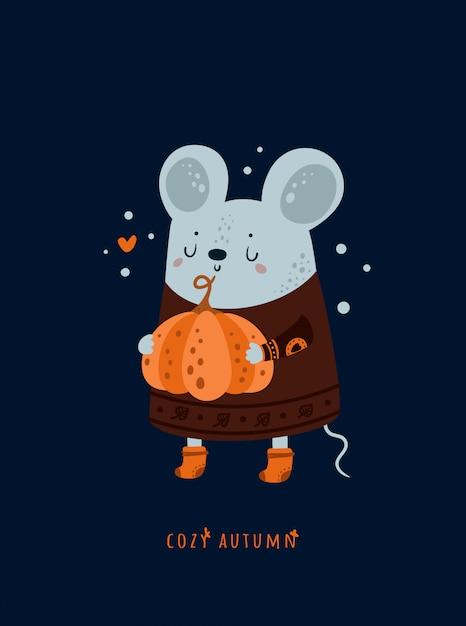 Urocza śliczna Mysz Mysz Z Dynią. Przytulna Jesień. Premium Wektorów