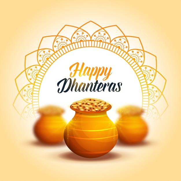 Urocza, szczęśliwa, dekoracyjna karta festiwalowa dhanteras Darmowych Wektorów
