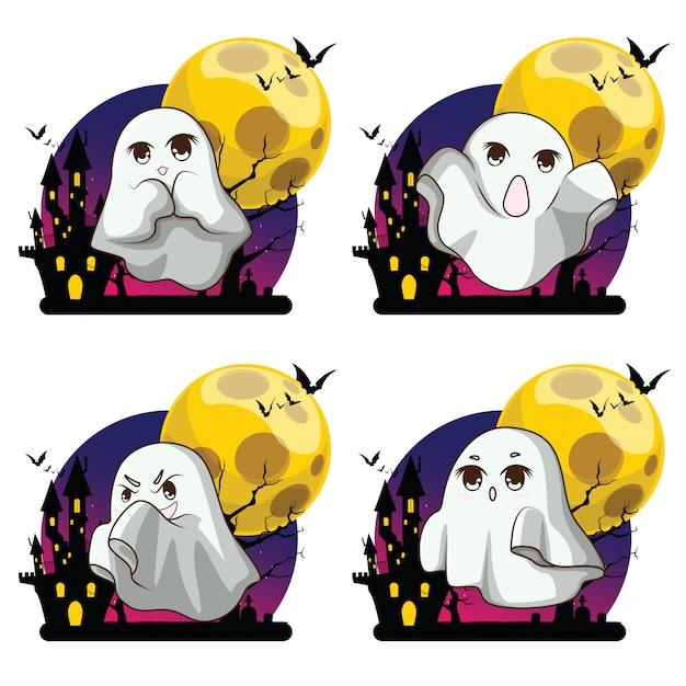 Urocza Tkanina Pokrowiec Whisper Ghost Biała Postać Ghost Party świętuje Halloween Nocne Wakacje Premium Wektorów