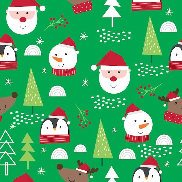 Urocza twarz świąteczna postać, uroczy mikołaj, renifery, bałwan i pingwin Premium Wektorów