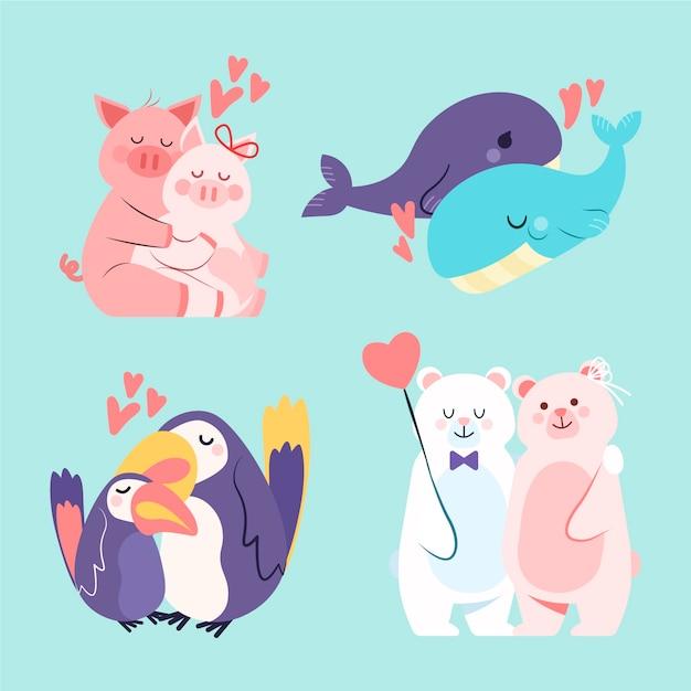 Urocza Walentynkowa Kolekcja Zwierząt Para Darmowych Wektorów