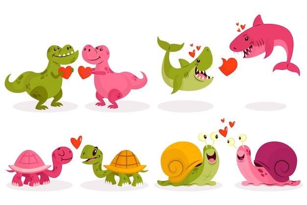 Urocza Walentynkowa Para Zwierząt Premium Wektorów