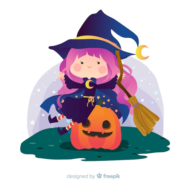 Urocza wiedźma halloween na dyni Darmowych Wektorów