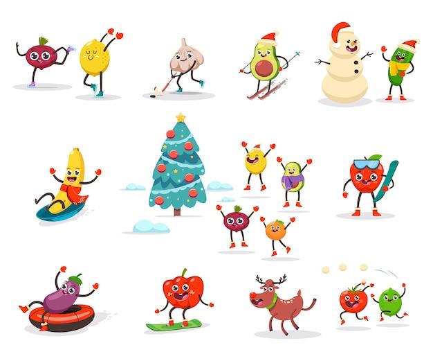 Urocze Dzieci Z Owoców I Warzyw Uprawiają Sporty Zimowe I Zajęcia Rekreacyjne. Postać Z Kreskówki śmieszne Jedzenie, Ciesząc Się świąt Bożego Narodzenia. Na Białym Tle. Premium Wektorów