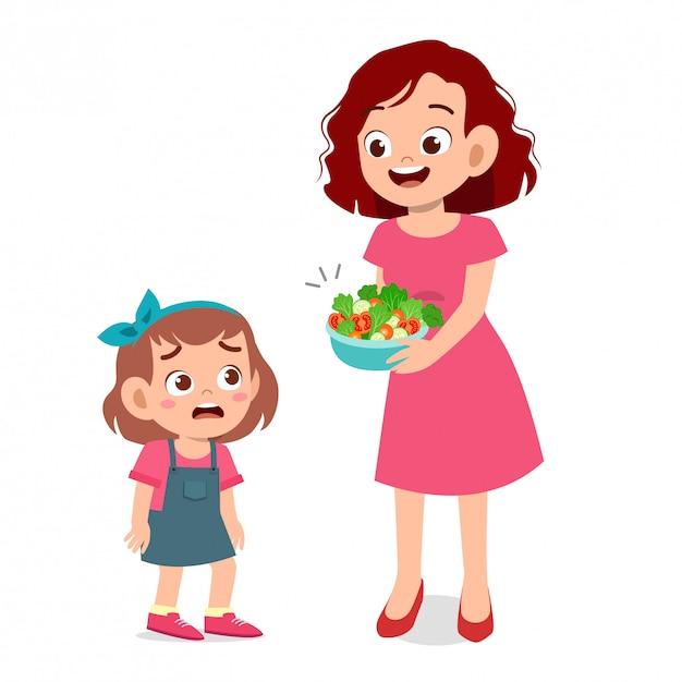 Urocze dziecko nie chce sałatki Premium Wektorów