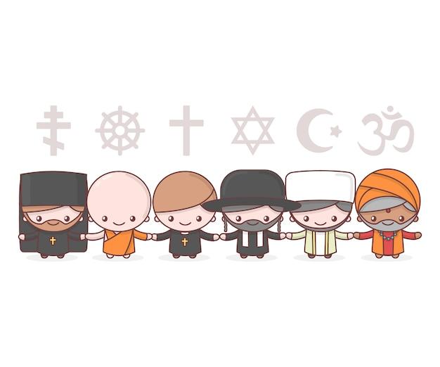 Urocze Postacie. Judaizm Rabbi. Buddyzm Mnich. Hinduizm Brahman. Ksiądz Katolicyzm. Chrześcijaństwo Ojciec święty. Islam Muzułmanin. Symbole Religii. Przyjaźń I Pokój Dla Różnych Wyznań. Premium Wektorów